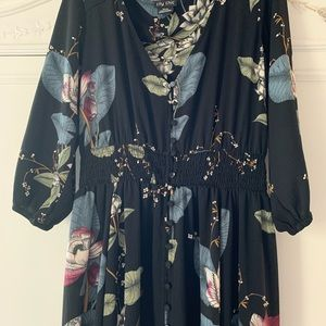 City Chic Dresses - Black with flowers long dress
